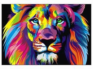 CANVAS Banksy Street Art Print RAINBOW LION PAINTING 70cm ...