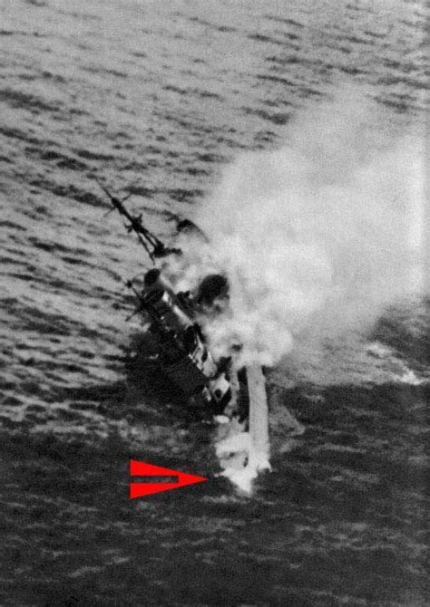 photograph  hms exeter sinking  world war  navy