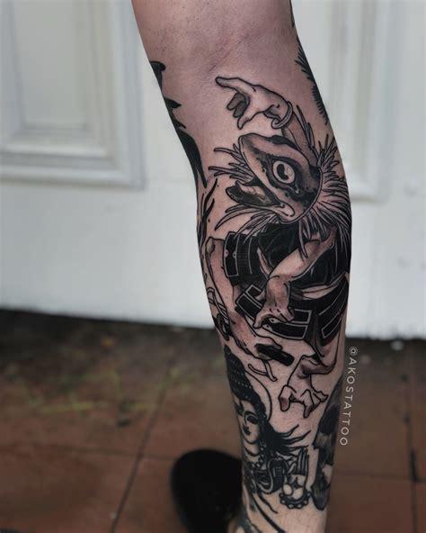 japanese oriental samurai frog design  calf tattoo