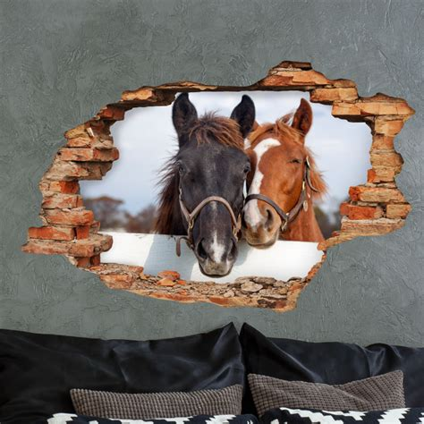 sticker trompe loeil  amour de chevaux stickers