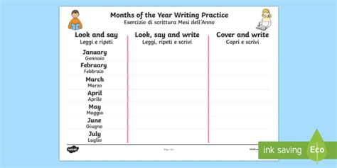 months of the year writing practice worksheet activity sheet