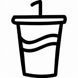 Soda glass with a straw hand drawn symbol Icons | Free ...