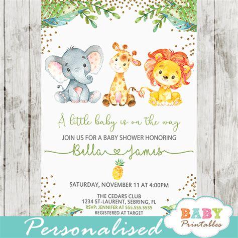 jungle animals baby shower invitations  baby
