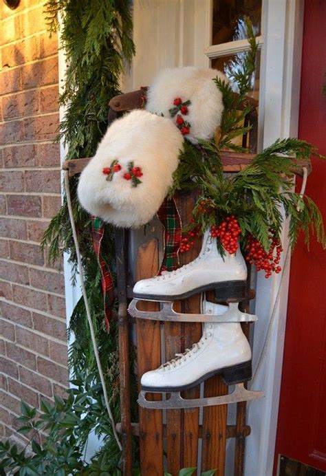amazing vintage ski  ice skates decorations