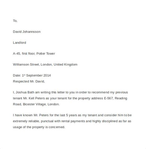 tenant reference letter  documents   word
