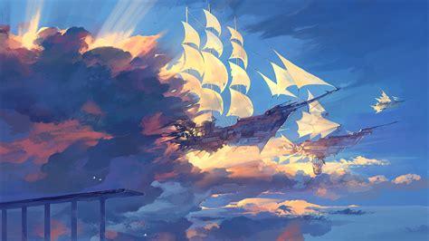 water fantasy art clouds sky watercolor sun rays