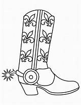 Cowboy Coloring Boots Printable Western Template Coloring2print sketch template