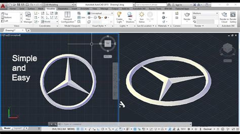 How To Make Mercedes Logo Using Autocad.