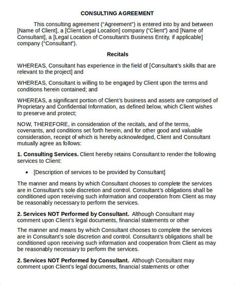 Consulting Terms And Conditions Template by Consulting Agreement 11 Free Word Pdf Documents