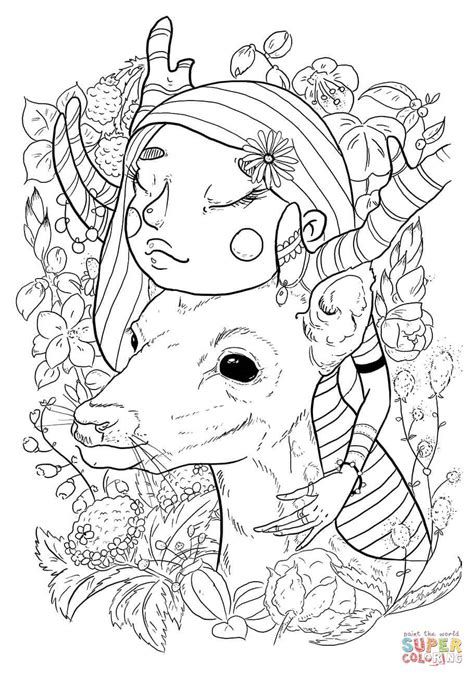 girl  deer coloring page  printable coloring pages