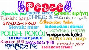 PEACE in 21 different languages | I just had a random idea ...