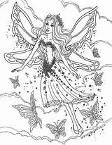 Fairies Coloring Fairy Butterfly sketch template