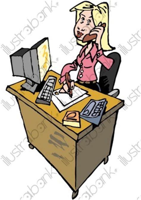 image de secretaire au bureau une secrétaire illustration au bureau libre de droit sur