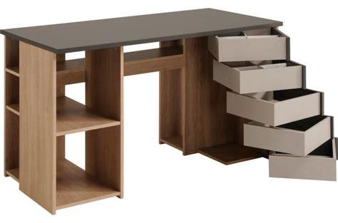 multi bureau bureau multi rangement coloris chêne et gris kverko