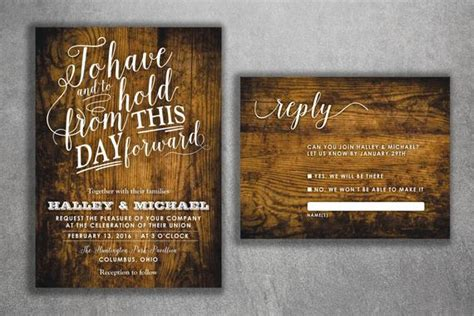 Rustic Wood Country Wedding Invitations Set Printed Cheap