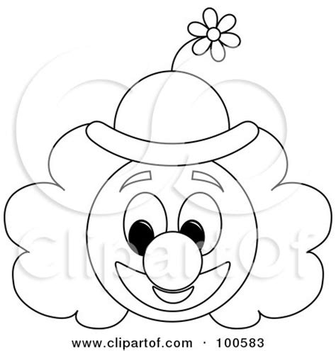 coloring page outline of a clown face with a floral hat posters art prints by pams clipart