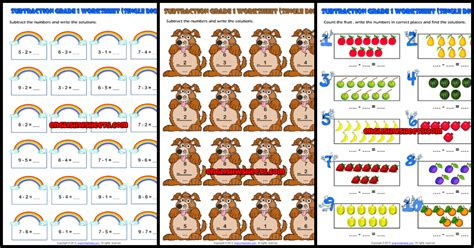 grade  subtraction printable maths worksheets  exercises