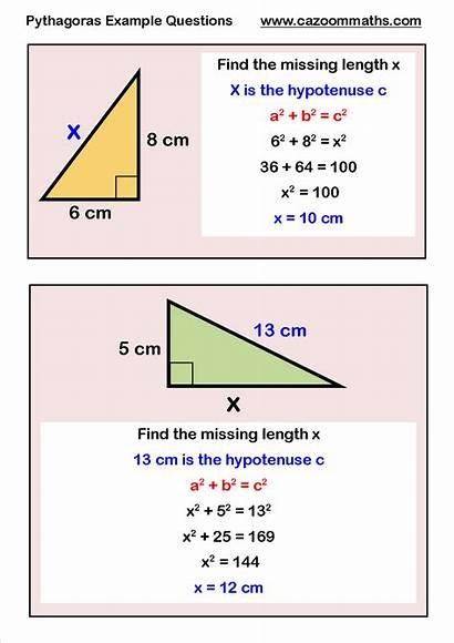 Pythagoras Example Maths Questions Geometry Worksheets Cazoom
