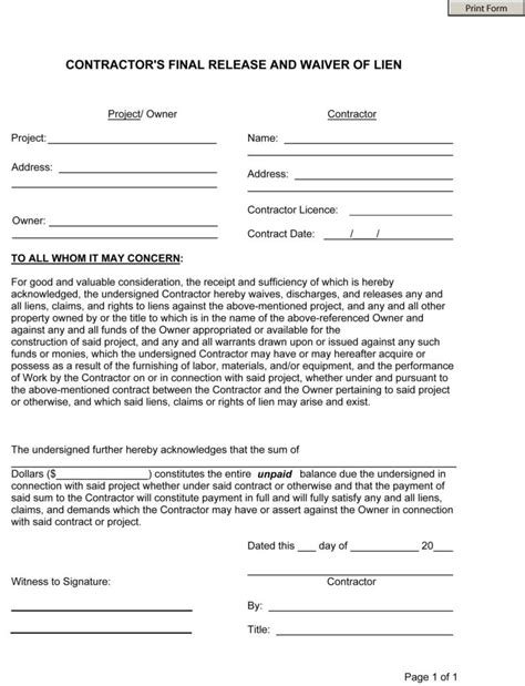 Partial Lien Waiver Template by Lien Waiver Template Listmachinepro