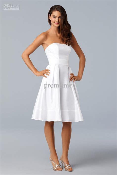 plain simple white taffeta knee length sash bridesmaid