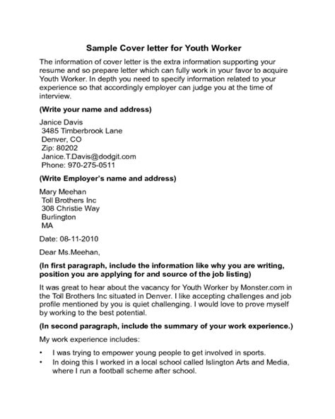 youth worker cover letter sle edit fill sign