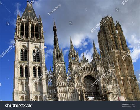 Beautiful Gothic Architecture On Cathedral Rouen Stock Photo 63870079