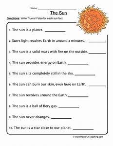Sun Facts Worksheet