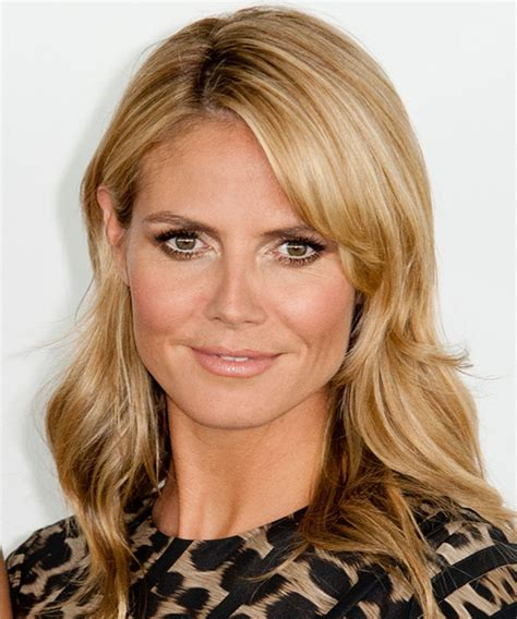 heidi klum medium straight casual hairstyle honey blonde