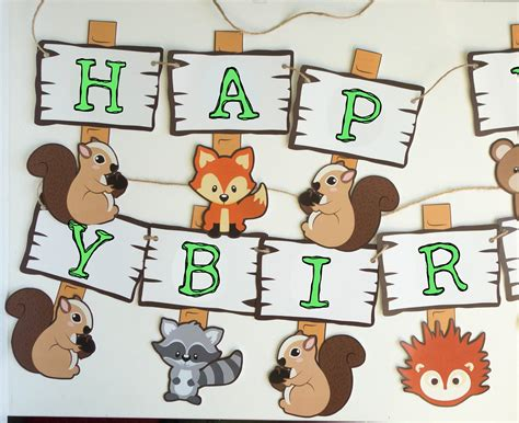 Woodland birthday banner Forest animals Happy birthday Etsy