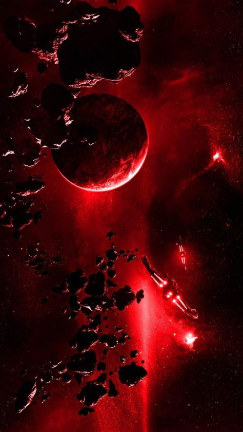Red Planet Explosion Light From Space iPhone Wallpapers