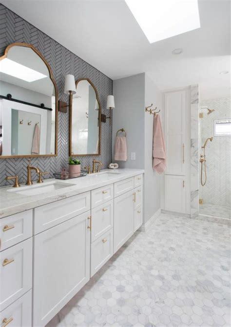 san diego glass tile shower transitional bathroom brass