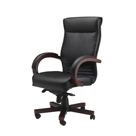 wood and leather desk chair mayline mercado corsica wood leather office chair cs
