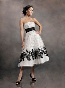 30 ideas of beautiful black and white wedding dresses for White tea length wedding dress