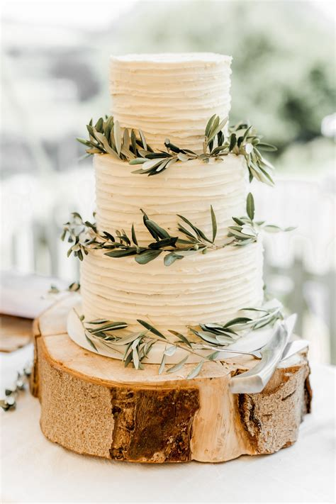 Rustic Wedding Cake With Olive Leaves For Vineyard Wedding