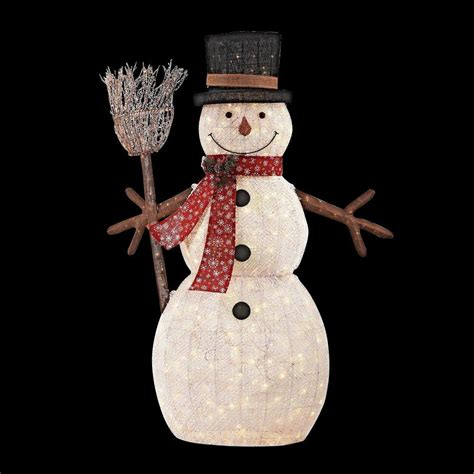 outdoor lighted snowman decorations home accents holiday 72 in led lighted pvc cotton string