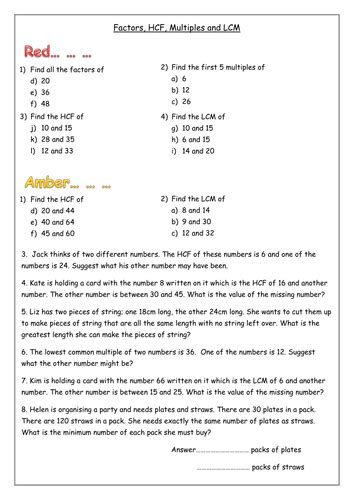 functional hcf and lcm worded questions by omasters1 teaching resources