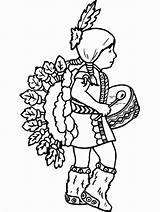 Native Coloring American Pages Child sketch template