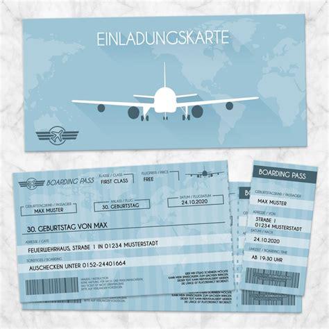 einladungskarte flugticket eigenbaudesign