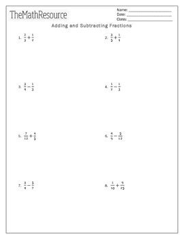 adding and subtracting fractions worksheet by themathresource tpt