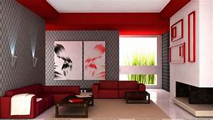 Red Sofa And Colorful Background in Guest Room Wallpaper