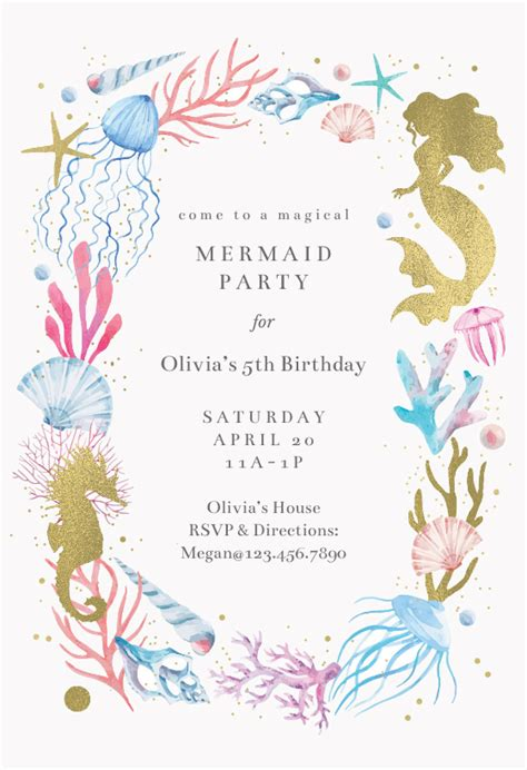 mermaid merriment birthday invitation template