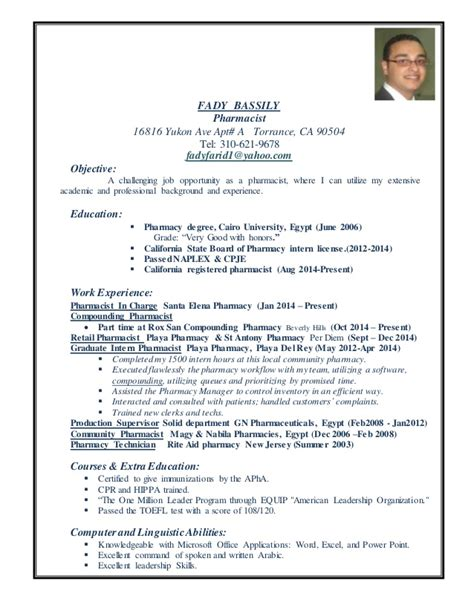 pharmacy school resume exle fady pharmacist resume