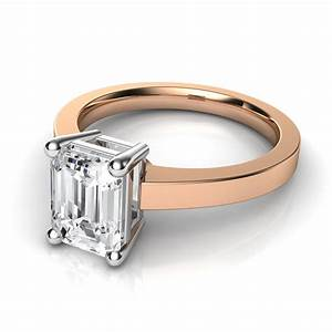 novo emerald cut solitaire diamond engagement ring in 14k With white gold diamond cut wedding ring