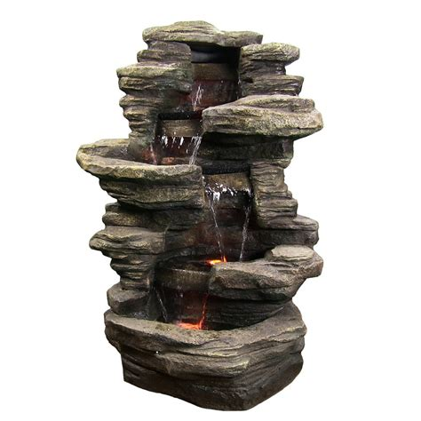 stacked shale outdoor water w led lights by