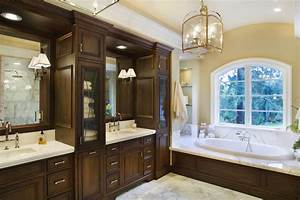Vanity with linen cabinet bathroom traditional with master