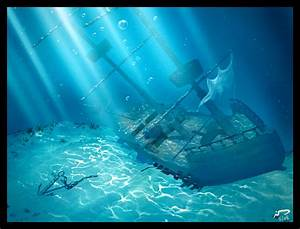 Underwater Shipwreck Drawing