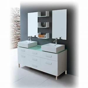 Pied Pour Meuble Salle De Bain : meuble de salle de bain double vasque avec pied ~ Dailycaller-alerts.com Idées de Décoration