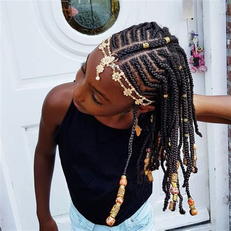 braids and beads natural hairstyles for girls