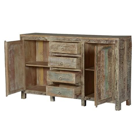 Salvaged Wood Sideboard by Frosted Rustic Reclaimed Wood Handcrafted 4 Drawer Sideboard