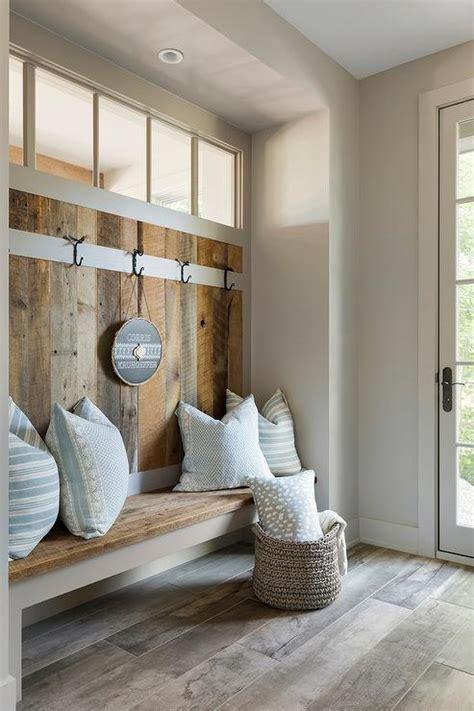 barn wood mudroom walls  bench transitional laundry